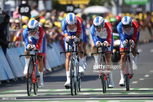 Arrival / Arnaud Demare of France / David Gaudu of France / Jacopo Guarnieri of Italy / Olivier Le Gac of France / Tobias Ludvigsson of Sweden / Rudy...