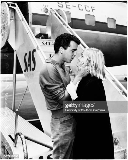 Arrival at airport 10 June 1958 May Britt Janss Gregson 16484 Supplementary material reads '20th CenturyFoxScandanivan Airways System May Britt who...