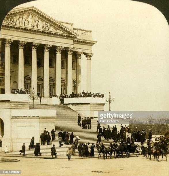 'Arrival at Capitol President Roosevelt and party ascending Senate wing steps Inauguaration of Roosevelt Washington' 1905 President Theodore...