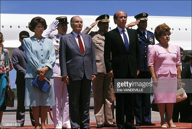 Arrival at Caracas Daniele and Francois Mitterrand Carlos Andres Perez and wife behind the Concorde jet in Caracas Venezuela on September 10th 1989