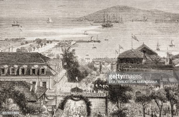 Arrival at Charlotte Amalie Island of St Thomas prince Waldemar's visit to the Danish West Indies illustration from the magazine The Graphic volume...