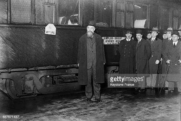 Arrival at Lyon station of the chairman of the Romanian council Nicolae Jorga by the Simplon Orient Express because he has been nominated Doctor...