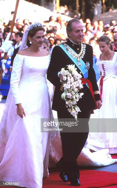 Arrival at the Church of the Spanish King Juan Carlos and his daughter the Infanta Cristina 4th October 1997 Barcelona Spain