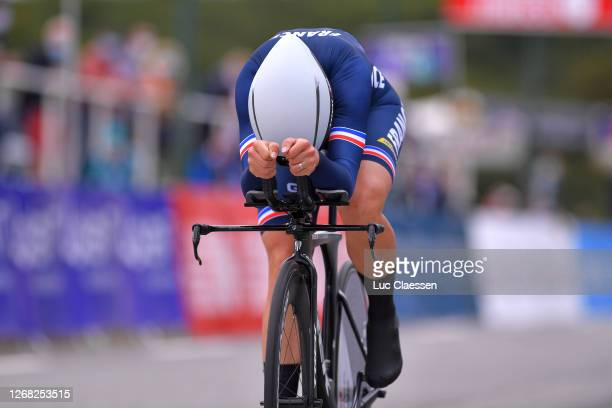 Arrival / Audrey Cordon Ragot of France / during the 26th UEC Road European Championships 2020 - Women's Elite Individual Time Trial a 25,6km race...