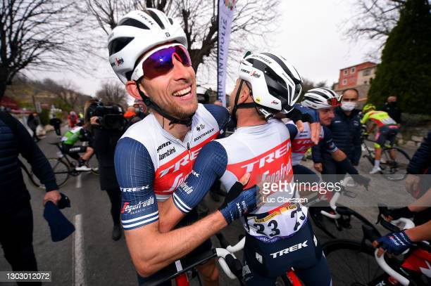 Arrival / Bauke Mollema of Netherlands and Team Trek - Segafredo & Gianluca Brambilla of Italy and Team Trek - Segafredo celebrate during the 53rd...