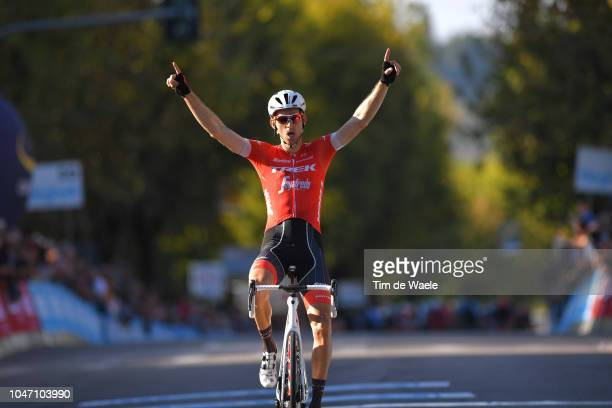 Arrival / Bauke Mollema of Netherlands and Team TrekSegafredo / Celebration / during the 23rd Gran Premio Bruno Beghelli 2018 a 1963km race from...