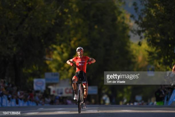 Arrival / Bauke Mollema of Netherlands and Team Trek-Segafredo / Celebration / during the 23rd Gran Premio Bruno Beghelli 2018 a 196,3km race from...