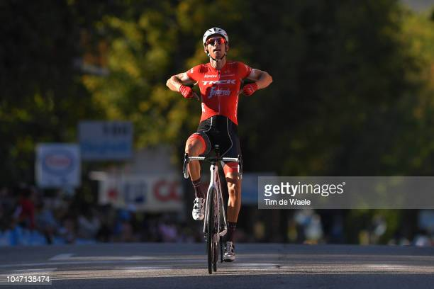 Arrival / Bauke Mollema of Netherlands and Team Trek-Segafredo / Celebration / during the 23rd Gran Premio Bruno Beghelli 2018 a 196,3km race from...