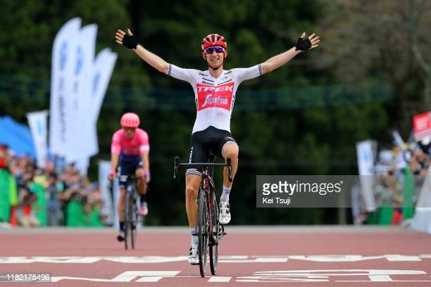 Arrival / Bauke Mollema of Netherlands and Team Trek-Segafredo / Celebration / Michael Woods of Canada and Team EF Education First / during the 28th...