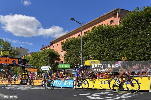 Arrival / Bauke Mollema of The Netherlands and Team Trek-Segafredo / Thibaut Pinot of France and Team Groupama-FDJ / Xandro Meurisse of Belgium and...