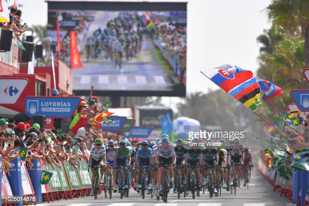 Arrival / Benjamin King of The United States and Team Dimension Data White Combined Jersey / Alejandro Valverde of Spain and Movistar Team Green...