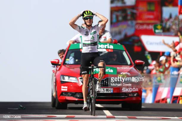 Arrival / Benjamin King of The United States and Team Dimension Data White Combined Jersey / Celebration / during the 73rd Tour of Spain 2018, Stage...