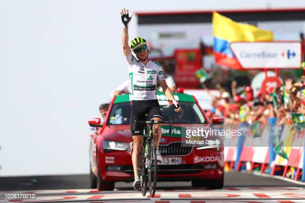 Arrival / Benjamin King of The United States and Team Dimension Data White Combined Jersey / Celebration / during the 73rd Tour of Spain 2018 Stage 9...