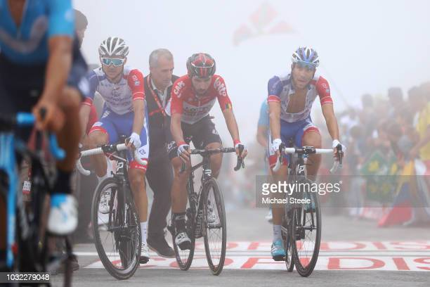 Arrival / Benjamin Thomas of France and Team Groupama FDJ / Thomas De Gendt of Belgium and Team Lotto Soudal / Thibaut Pinot of France and Team...