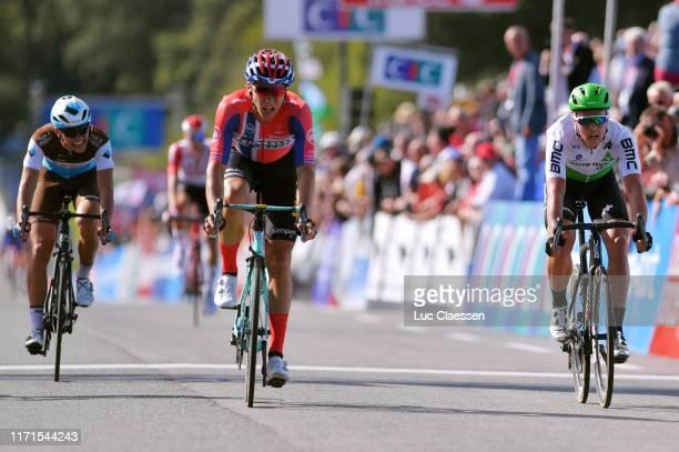 Arrival / Benoit Cosnefroy of France and Team AG2R La Mondiale / Amund Grõndahl Jansen of Norway and Team Jumbo - Visma / Michael Valgren Andersen of...