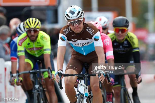 Arrival / Benoit Cosnefroy of France and Team AG2R La Mondiale / during the 106th Liege - Bastogne - Liege 2020, Men Elite a 257km race from Liege to...