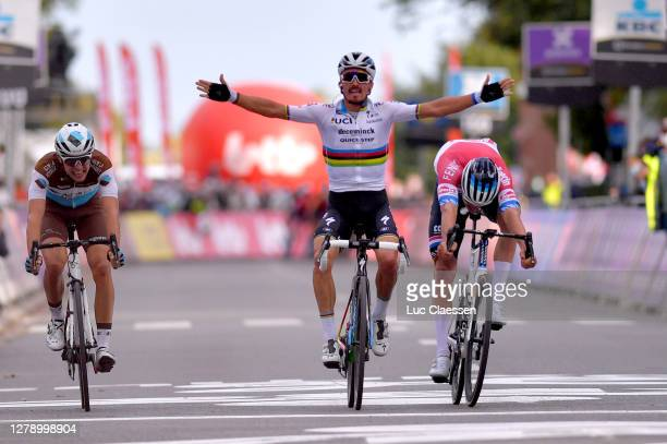 Arrival / Benoit Cosnefroy of France and Team Ag2R La Mondiale / Julian Alaphilippe of France and Team Deceuninck - Quick-Step / Celebration /...