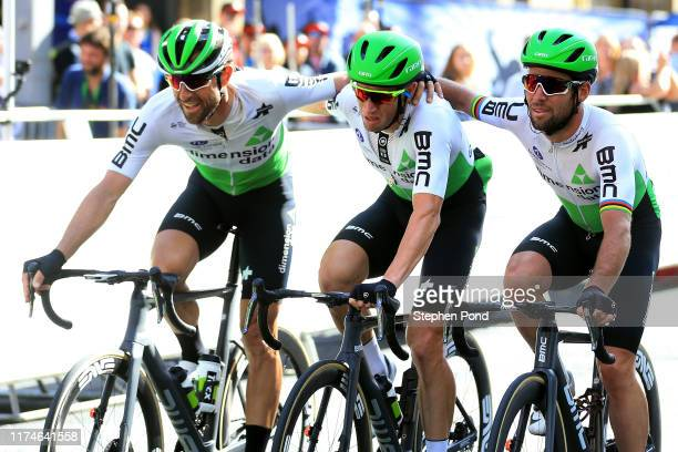 Arrival / Bernie Eisel of Austria and Team Dimension Data / Mark Renshaw of Australia and Team Dimension Data Retirement / Mark Cavendish of Great...