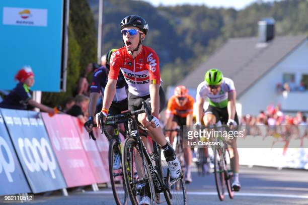 Arrival / Bjorg Lambrecht of Belgium and Team Lotto Soudal / during the 11th Tour des Fjords 2018 Stage 3 a 183km stage from Farsud to Egersund on...