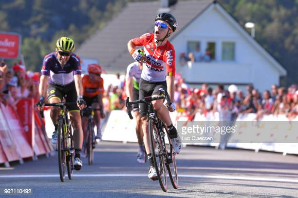 Arrival / Bjorg Lambrecht of Belgium and Team Lotto Soudal / Michael Albasini of Switzerland and Team MitcheltonScott Black Points Jersey / during...