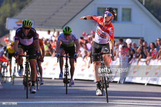 Arrival / Bjorg Lambrecht of Belgium and Team Lotto Soudal / Michael Albasini of Switzerland and Team Mitchelton-Scott Black Points Jersey / Edvald...