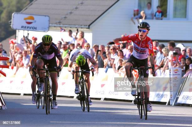 Arrival / Bjorg Lambrecht of Belgium and Team Lotto Soudal / Michael Albasini of Switzerland and Team MitcheltonScott Black Points Jersey / Edvald...