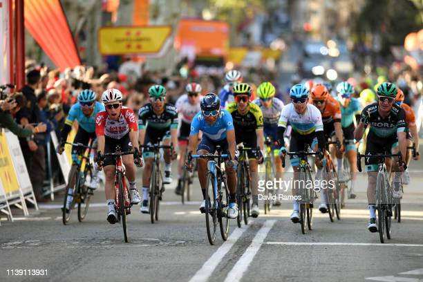 Arrival / Bjorg Lambrecht of Belgium and Team Lotto Soudal / Nairo Quintana of Colombia and Movistar Team / Andrey Zeits of Kazahkstan and Astana Pro...