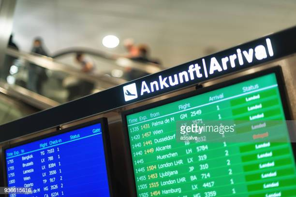 Arrival board at Zurich Airport