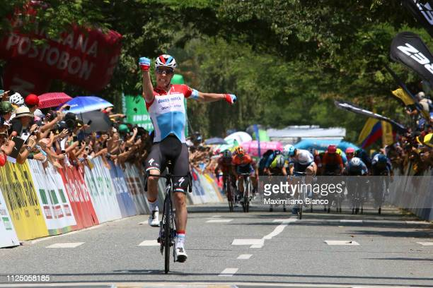 Arrival / Bob Jungels of Luxembourg and DeceuninckQuickstep Team / Celebration / during the 2nd Tour of Colombia 2019 Stage 4 a 1444km race from...