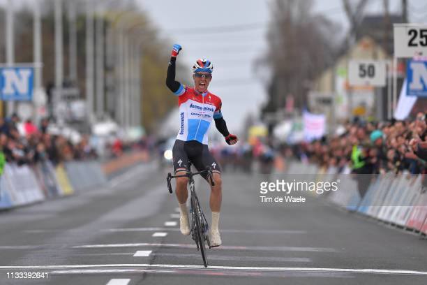 Arrival / Bob Jungels of Luxembourg and Team Deceuninck-QuickStep / Celebration / during the 71st Kuurne-Brussel-Kuurne 2019 a 201,1km race from...