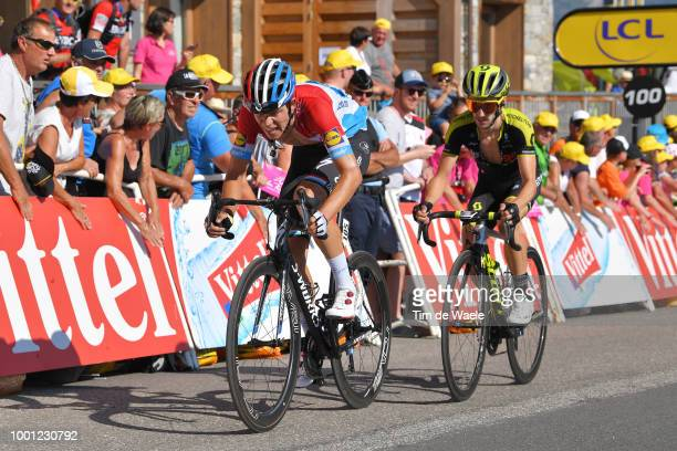 Arrival / Bob Jungels of Luxembourg and Team QuickStep Floors / Adam Yates of Great Britain and Team MitcheltonScott / during the 105th Tour de...