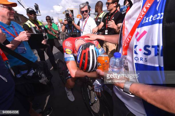 Arrival / Bob Jungels of Luxembourg and Team QuickStep Floors / during the104th LiegeBastogneLiege 2018 a 2585km race from Liege to LiegeAns on April...