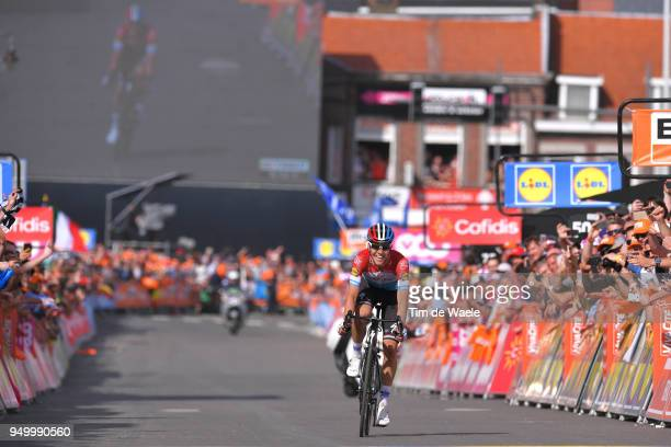 Arrival / Bob Jungels of Luxembourg and Team Quick-Step Floors / Celebration / during the104th Liege-Bastogne-Liege 2018 a 258,5km race from Liege to...