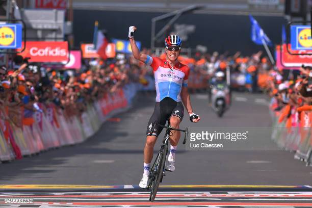 Arrival / Bob Jungels of Luxembourg and Team QuickStep Floors / Celebration / during the104th LiegeBastogneLiege 2018 a 2585km race from Liege to...