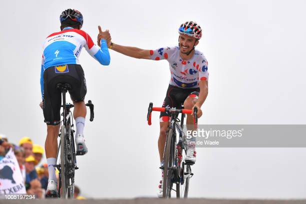 Arrival / Bob Jungels of Luxembourg and Team Quick-Step Floors / Julian Alaphilippe of France and Team Quick-Step Floors Polka Dot Mountain Jersey /...
