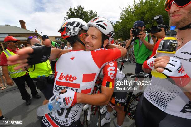 Arrival / Caleb Ewan of Australia and Team Lotto Soudal / Adam Blythe of Great Britain and Team Lotto Soudal / Celebration / during the 21st Santos...