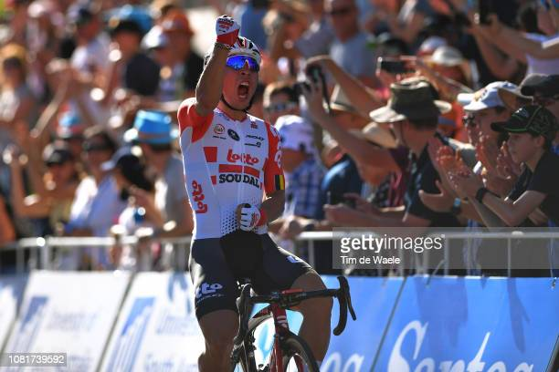Arrival / Caleb Ewan of Australia and Team Lotto Soudal / Celebration / during the 2019 Tour Down Under Classic a 1 hour + 1 lap of 1,7km race from...