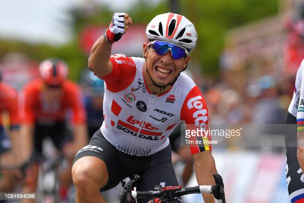 Arrival / Caleb Ewan of Australia and Team Lotto Soudal / Celebration / Disqualified / during the 21st Santos Tour Down Under 2019, Stage 5 a 149,5km...
