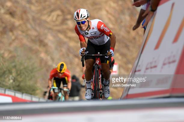 Arrival / Caleb Ewan of Australia and Team Lotto Soudal / Celebration / during the 5th UAE Tour 2019, Stage 4 a 197km stage from Palm Jumeirah -...