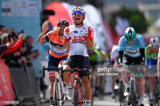 Arrival / Caleb Ewan of Australia and Team Lotto Soudal Celebration / Juan Jose Lobato Del Valle of Spain and Team Nippo Vini Fantini - Faizane / Sam...