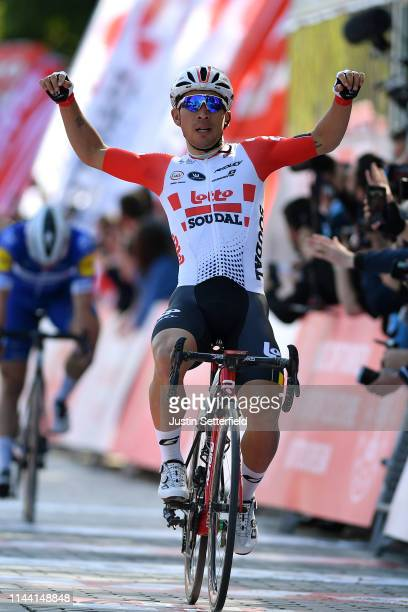 Arrival / Caleb Ewan of Australia and Team Lotto Soudal / Celebration / Fabio Jakobsen of Netherlands and Team Deceuninck - Quick-Step / during the...