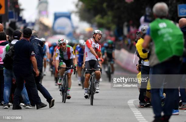 Arrival / Caleb Ewan of Australia and Team Lotto Soudal / Celebration / Elia Viviani of Italy and Team Deceuninck - Quick-Step / Pascal Ackermann of...