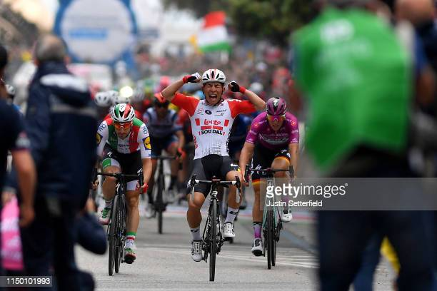 Arrival / Caleb Ewan of Australia and Team Lotto Soudal / Celebration / Elia Viviani of Italy and Team Deceuninck QuickStep / Pascal Ackermann of...