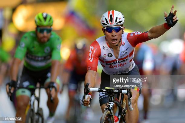 Arrival / Caleb Ewan of Australia and Team Lotto Soudal / Celebration / during the 106th Tour de France 2019 Stage 11 a 167km stage from Albi to...