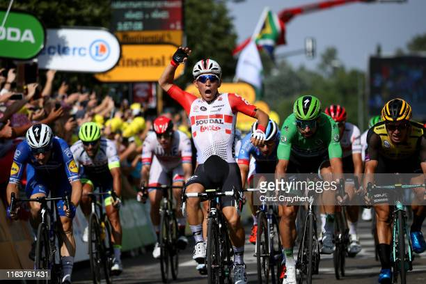 Arrival / Caleb Ewan of Australia and Team Lotto Soudal / Celebration / Dylan Groenewegen of The Netherlands and Team JumboVisma / Elia Viviani of...
