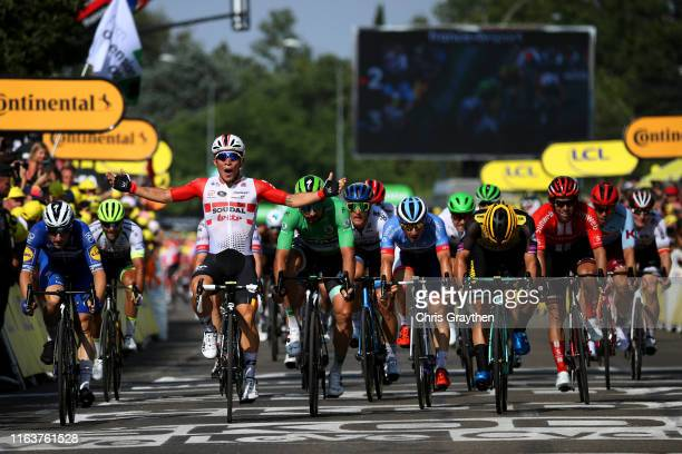 Arrival / Caleb Ewan of Australia and Team Lotto Soudal / Celebration / Elia Viviani of Italy and Team Deceuninck QuickStep / Dylan Groenewegen of...