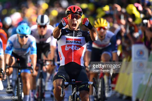 Arrival / Caleb Ewan of Australia and Team Lotto Soudal / Celebration / during the 107th Tour de France 2020, Stage 3 a 198km stage from Nice to...