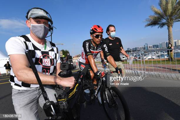 Arrival / Caleb Ewan of Australia and Team Lotto Soudal Celebration, during the 3rd UAE Tour 2021, Stage 7 a 147km stage from Yas Mall to Abu Dhabi -...