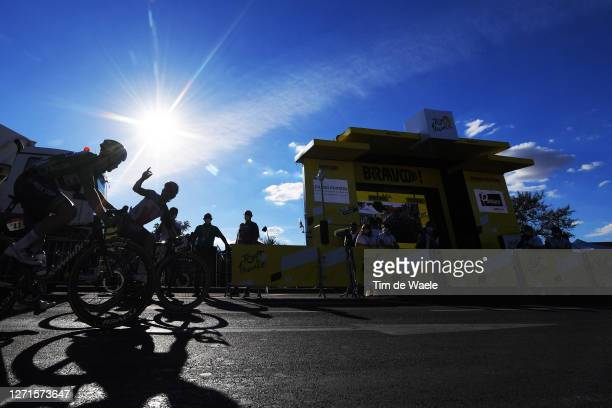 Arrival / Caleb Ewan of Australia and Team Lotto Soudal / Sam Bennett of Ireland and Team Deceuninck - Quick-Step Green Points Jersey / during the...