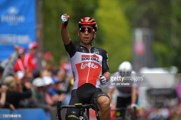 Arrival / Caleb Ewan of Australia and Team Lotto-Soudal / Celebration / during the 22nd Santos Tour Down Under 2020, Stage 2 a 135,5km stage from...